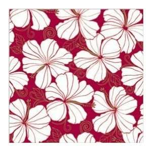 Hawaiian Christmas Gift Wrap Rolled Hibiscus Chic White