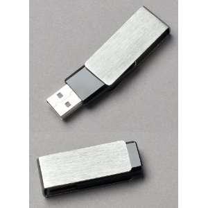 Premium Brushed Aluminum/Black Swivel USB Flash Memory