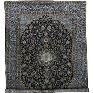 99 x 136 Navy Blue Persian Hand Knotted Wool Kashan Rug