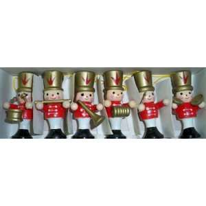 Set of Six Wooden Soldier Nutcrackers in Band Christmas