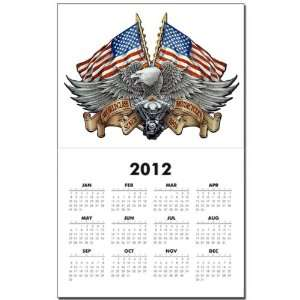 Calendar Print w Current Year Eagle American Flag and Motorcycle