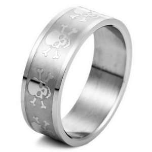 SKULL MENS Stainless Steel Ring Band Size 8 Justeel