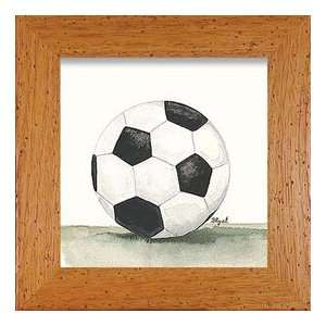 Soccer Ball Print in Natural Frame Baby