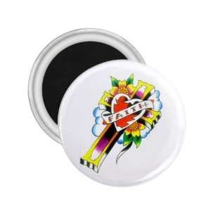 Tattoo Cross Heart Art Fridge Souvenir Magnet 2.25