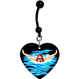 Black Heart Swimming Belly Ring Jewelry