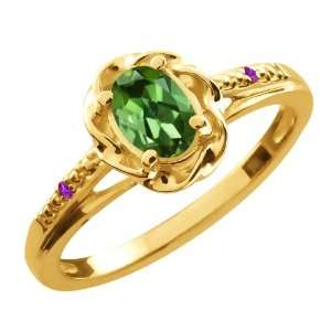 Ct Oval Green Tourmaline Purple Amethyst 14K Yellow Gold Ring Jewelry