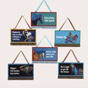 Club Pack of 36 Wooden Western Plaque with Text Christmas Ornaments