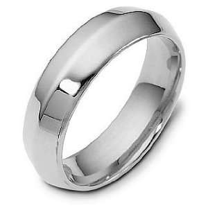 6mm Wide 18 Karat White Gold Knife Edge Style Comfort Fit Wedding Band
