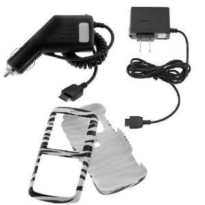 Rapid Car Charger + AC Charger + Black & White Zebra Snap On Case for