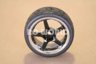RC 1/10 CAR TIRES BLACK CHROME LIP WHEELS RIMS PACKAGE KYOSHO TAMIYA