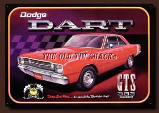 Nostalgic Tin Metal Sign   Dodge Dart GTS Muscle Car Bumblebee Stripes